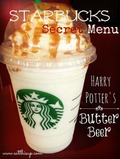 Starbucks Secret Menu Has Butterbeer Drinks for Every Diehard Harry Potter Fan - Harry Potter - Kaffee Starbucks Coffee, Starbucks Secret Menu Drinks, Starbucks Hacks, Starbucks Caramel, Yummy Drinks, Yummy Food, Tasty, Smoothies, Harry Potter Food