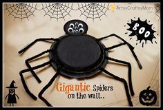 DIY Gigantic Syrofoam Plate spiders  We made them in black but can easily be made in Red & green - The very Busy Spider Craft #Styrofoam #Pipecleaner #PaperPlate #Halloween #chenilleStick #Age5 7 #Age3 5