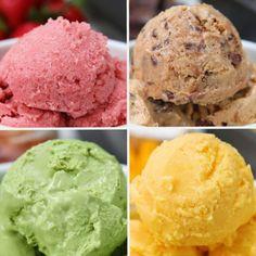 Iogurte Congelado 4 Maneiras Chill Out With These 4 Frozen Yogurt Recipes Frozen Yogurt Recipes, Frozen Yoghurt, Frozen Desserts, Greek Yogurt, Frozen Treats, Yogurt Ice Cream, Siggis Yogurt, Homemade Frozen Yogurt, Healthy Frozen Yogurt