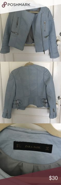 Zara baby blue faux leather jacket size S Zara faux leather jacket in size s. Baby blue Moto style Zara Jackets & Coats