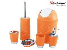 6-piece Sanitary Set - ORANGE: liquid soap dispenser, soap tray, toothbrush holder, tumbler, toilet brush, bin #toilet #WC #orange #sqprofessional
