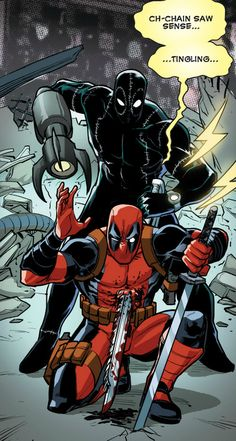 Deadpool has a very acute awareness of his surroundings. Comic Book Characters, Marvel Characters, Comic Character, Comic Books Art, Comic Art, Deadpool Comic, Deadpool And Spiderman, Batman, Comic Manga