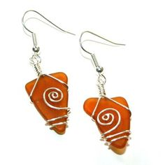 Wire wrapped sea glass earrings - Amber Brown