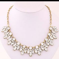 We now have the gold tone crystal statement necklace back in stock!