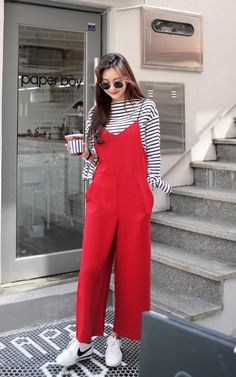 Wide Pants Sleeveless Jumpsuit by Dahong #koreanstyle #red #streetstyle