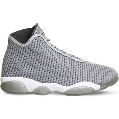 NIKE Jordan Horizon woven mesh trainers ($165) ❤ liked on Polyvore featuring shoes, sneakers, wolf grey white grey, nike, two tone shoes, lace up sneakers, round toe sneakers and mesh shoes