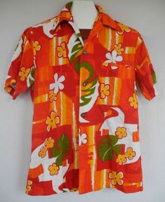 fb76bc8f Vtg Fashions By Myra Hawaiian Shirt Floral Orange White Red Bright Aloha  Friday