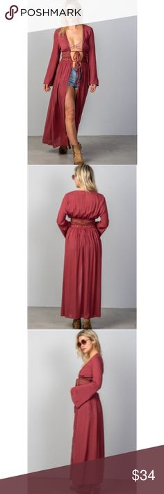 NEW!!Boho Long Kimono Brand New! Burgundy long kimono. Has crochet waist and ties in the front. Long bell sleeves. Perfect for festival season!  Sizes: Small, Medium and Large  100% Rayon Other