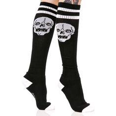 Sourpuss Clothing Skelly Knee High Socks ($15) ❤ liked on Polyvore featuring intimates, hosiery, socks, tall socks, striped knee socks, knee socks, striped socks and knee-high socks