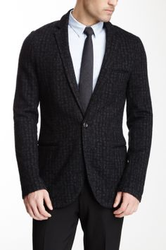 Lightweight One Button Notch Lapel Blazer  BlazerMen #Outerwear