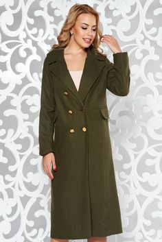Casual darkgreen coat cloth with inside lining with straight cut October 19, Product Label, Straight Cut, Line, Vibrant, Buttons, Shirt Dress, Wool, Long Sleeve