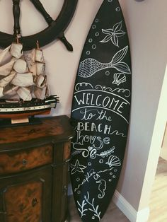 Homemade DIY chalk surfboard // beach house welcome // chalk board