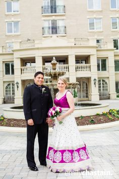 The bright colors pop in this fusion wedding in Annapolis. Photos by Emily Chastain.  Makeup by Suzanne & low side bun hairstyle by Mandy.