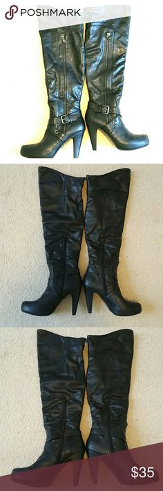 Guess Tall Black Boots These boots are great. They are over-the-knee boots, but the tops can also be rolled down. They have only been worn a couple of times. They are in great condition. Guess Shoes Over the Knee Boots