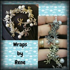 Vintage Frogs and Dragonflies Charm Bracelet by WrapsbyRene