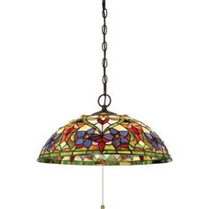 Violets Vintage Bronze 20-Inch Three-Light Pendant