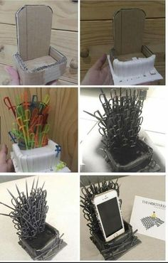 DIY: Suporte de celular para fãs de Game of Thrones mehr zum Selbermachen auf Interessante-dinge.de DIY: Suporte de celular para fãs DE game of thrones more to do it yourself Interesting-ding … Game Of Thrones Gifts, Game Of Thrones Party, Game Of Thrones Fans, Game Of Thrones Chair, Game Of Thrones Decor, Game Of Thrones Birthday Cake, Craft Projects, Projects To Try, Anniversaire Harry Potter