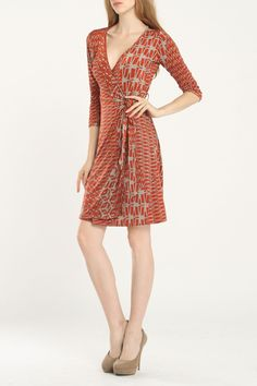 Andree Melissa Wrap Dress In Rust -