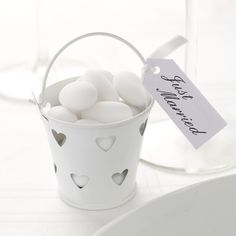 White Heart Pails - 5 Pack
