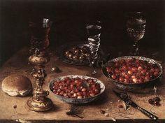 Osias Beert  - Cherries and Strawberries in China Bowls, 1608.  Staatliche Museen, Berlin