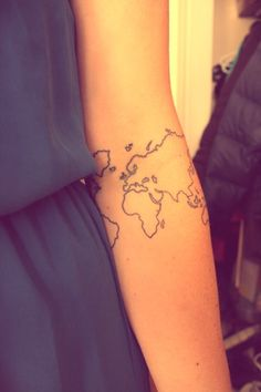 beginning of my #sleeve > #worldmap #tattoo / with a hart on the netherlands and America.