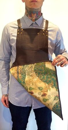 Image of Dark brown Leather Apron - Peacock Lining