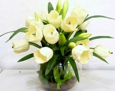 Real Touch White Tulip Artificial Flower Arrangement Fishbowl Vase Fake Flowers Realistic Flowers That Look and Feel Fresh and Last Forever