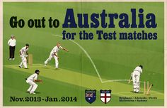 Vintage Cricket Poster Pastiche | 2013/14 Winter Ashes Series by DadManCat, $12.99