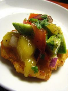 """Fried Plantain """"Cracker"""" with Mango Salsa Appetizer by SeppySills, via Flickr"""
