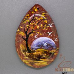 Fashion Pendant Hand Painted Scenery Natural Gemstone   ZL805071 #ZL #Pendant
