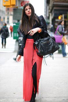 leggins + high low skirt