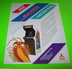 MILLIPEDE By ATARI 1984 ORIGINAL RARE VERSION NOS VIDEO ARCADE GAME SALES FLYER #millipede #atari #videogameflyers #arcadeflyers