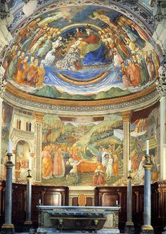 Lippi. Fresques de la cathédrale de Spoleto (1467-69). Elles retracent les épisodes de la Vie de la Vierge. Lippi mourut avant l'achèvement des fresques et c'est son fils Filippini qui les termina fin 1469, il n'avait que 12 ans à cette époque.