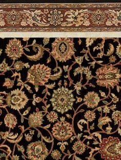 Oriental Patterned Carpet Gallery: Gilla, Midnight, 100% Wool