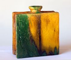 Vintage Italian Pottery Gli Etrushi Raymor Ivo De Santis Slab Built Square Vase