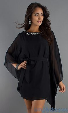 Short Black Dress with Embellished Neckline by Betsy and Adam at SimplyDresses.com.. I need to get off this site!
