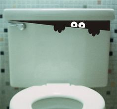 Toilet Monster Bathroom decal -  kids may never go into the bathroom again.