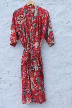 Cotton Bathrobe Kimono Indian block print  palm tree design wedding gown bridesmaid