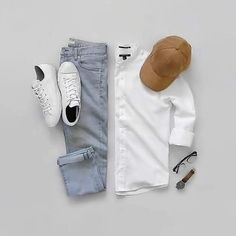 Grids by . Learn to build a perfect Capsule Wardrobe and dress better. Dress And Sneakers Outfit, White Shirt Outfits, White Shirt Men, Sneaker Outfits, Komplette Outfits, Casual Outfits, Urban Style Outfits, Casual Wear For Men, Spring Outfits