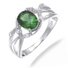 8x6MM 1.20 CT Green Topaz Ring In Sterling Silver (Available in Sizes 5 - 9) -
