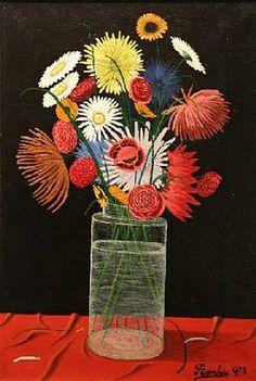 Camille Bombois, Fleurs dans un vase en verre