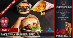 Takeaway Burger Special @ The Crazy Horse Steak Ranch - Horseshoe Inn Burger Specials, Restaurant Specials, Pizza Special, Crazy Horse, Daily Meals, Portal, Ranch, Steak, Campaign