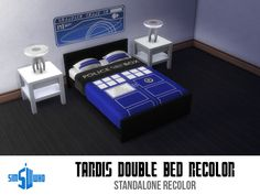 Sleep soundly in this TARDIS bed, knowing that The Doctor has your dreams under control!  Found in TSR Category 'Sims 4 Bed Recolors'