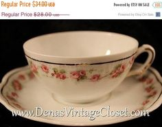 60% OFF Mothers Day Sale Vintage Tiara Bavaria Bone China Pink Roses Marquis Pattern Teacup and Saucer Set