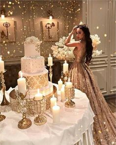 Gold Wedding Cakes Sleeveless Long Shinning Sparkly New Arrival Unique Prom Dresses, party gown, evening dress, Quinceanera Decorations, Quinceanera Party, Themes For Quinceanera, Paris Quinceanera Theme, Paris Prom Theme, Gold Prom Dresses, Unique Prom Dresses, Sweet 16 Dresses Gold, Gold Quinceanera Dresses