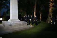 Commemoration: The Duke of Cambridge (centre) and David Cameron (second right) at the ceremony at St Symphorien Cemetery in Mons, Belgium