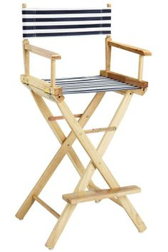 Charming Directoru0027s Chair Striped Canvas Seat And Back Like The Nautical Look
