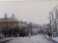 Twerton High Street, Shophouse Road junction before second world war as houses on left were bombed.