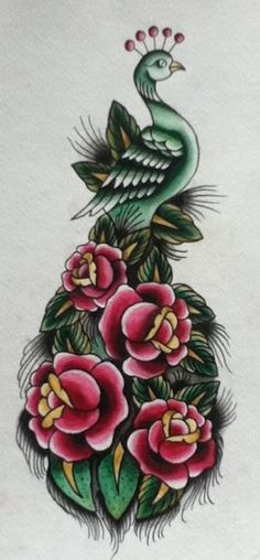 Lovely Peacock Tattoo-I especially like the flowers in the tail