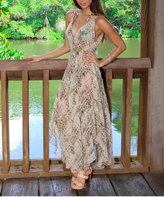 Look at this #zulilyfind! Brown & Black Scale Chiffon Maxi Dress #zulilyfinds
